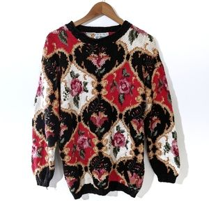 Vintage 90s Floral Knit Oversized Mom Sweater S